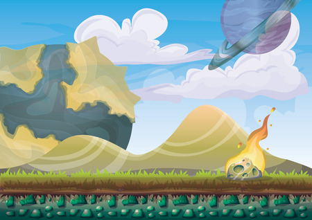 cartoon vector landscape with meteor background with separated layers for game art and animation game design asset in 2d graphic
