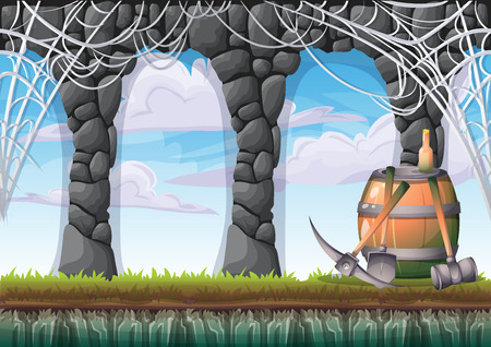 rock layer: cartoon vector cave with separated layers for game and animation game design asset