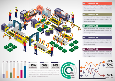 industrial machinery: illustration of info graphic factory equipment concept in isometric 3D graphic