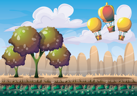 separated: cartoon vector nature landscape background with separated layers for game art and animation game design asset in 2d graphic Illustration