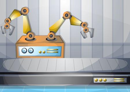 cartone animato illustrazione vettoriale interni in fabbrica con strati separati in 2D grafica