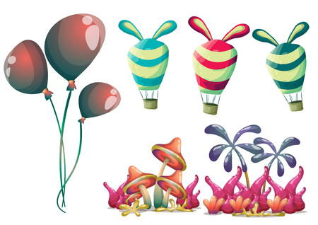 shapes cartoon: cartoon vector cute balloons object with separated layers for game art and animation game design asset in 2d graphic Illustration
