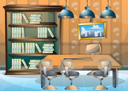 floor plant: cartoon vector illustration interior library room with separated layers in 2d graphic