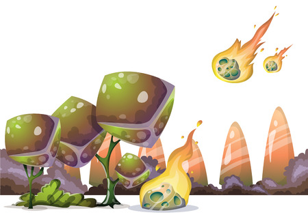 meteors: cartoon vector Meteor object with separated layers for game art and animation game design asset in 2d graphic