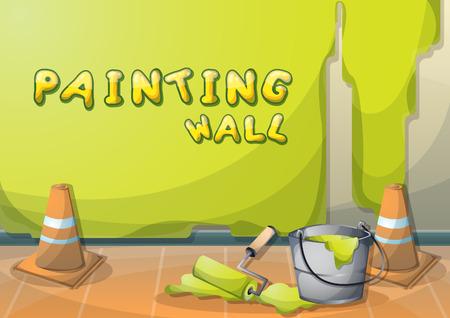 Dessin Anim Illustration Mur De Peinture Intrieure Avec Des