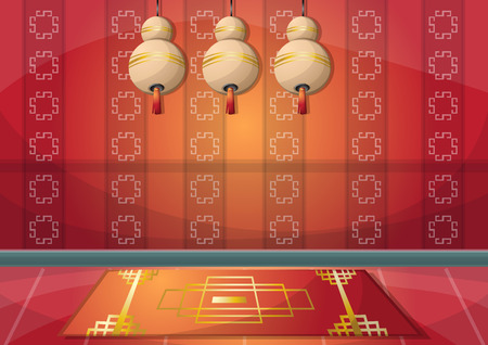 japanese culture: cartoon vector illustration interior chinese room with separated layers in 2d graphic