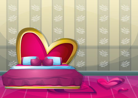 comfort food: cartoon vector illustration interior valentine room with separated layers in 2d graphic Illustration