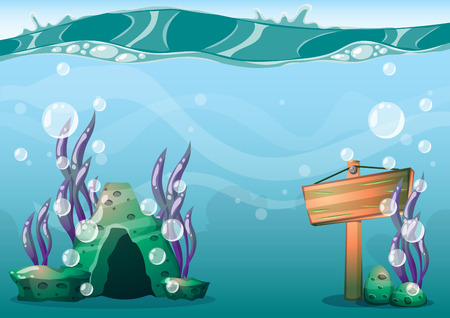 cartoon vector underwater background with separated layers for game art and animation game design asset in 2d graphic Illustration