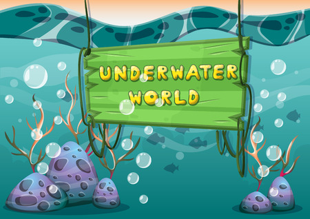 lagoon: cartoon vector underwater background with separated layers for game art and animation game design asset in 2d graphic Illustration