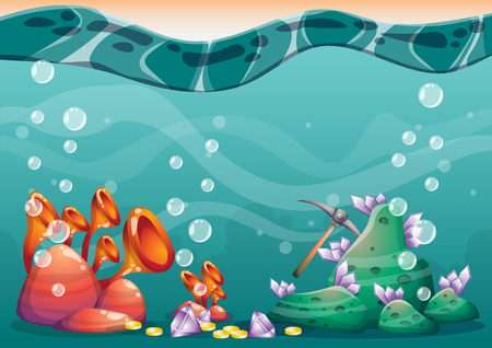 sunken: cartoon vector underwater treasure background with separated layers for game art and animation game design asset in 2d graphic