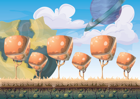 meteors: cartoon vector landscape with meteor background with separated layers for game art and animation game design asset in 2d graphic