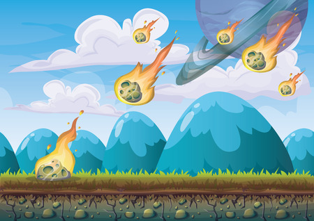 2d: cartoon vector landscape with meteor background with separated layers for game art and animation game design asset in 2d graphic