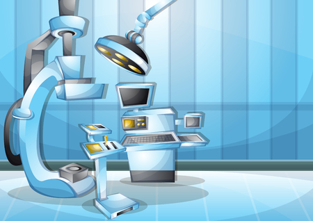 operation: cartoon vector illustration interior surgery operation room with separated layers in 2d graphic