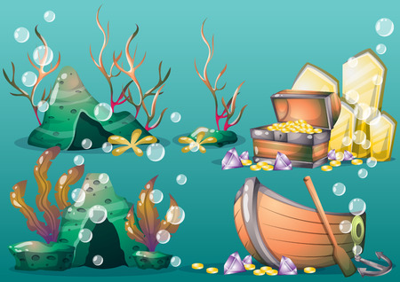 sea weed: cartoon vector underwater objects with separated layers for game art and animation game design asset in 2d graphic