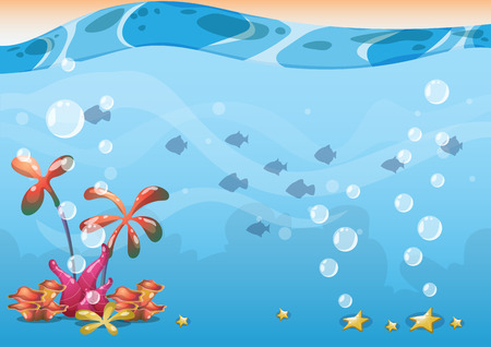 cartoon vector underwater background with separated layers for game art and animation game design asset in 2d graphic Vettoriali