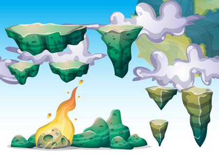 cartoon vector floating island object with separated layers for game art and animation game design asset in 2d graphic Ilustração
