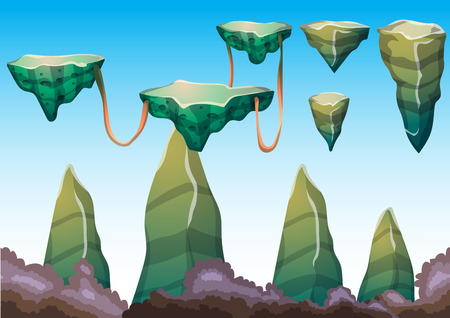 cartoon vector floating island object with separated layers for game art and animation game design asset in 2d graphic Illustration