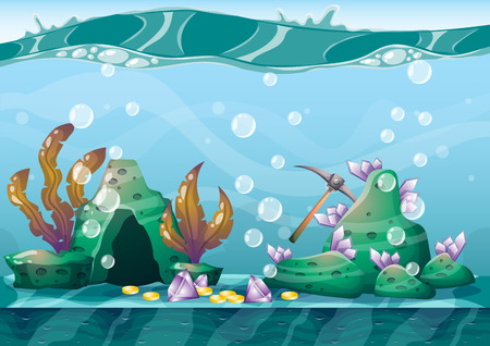 monete antiche: cartoon underwater treasure background with separated layers for game art and animation game design asset in 2d graphic