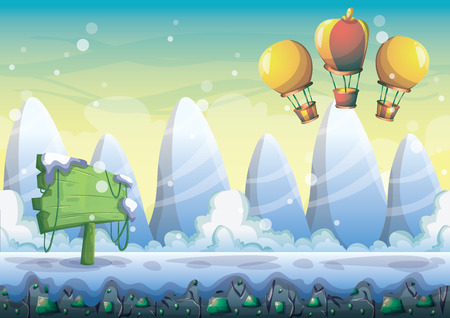 snowy field: cartoon snow landscape background with separated layers for game and animation game design asset in 2d graphic Illustration