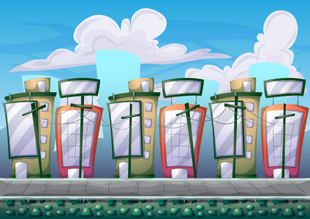 scroller: cartoon building background with separated layers for game art and animation game design asset in 2d graphic Illustration