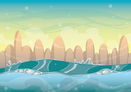 cartoon sea background with separated layers for game art and animation game design asset in 2d graphic