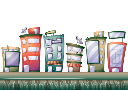 2d wallpaper: cartoon building background with separated layers for game art and animation game design asset in 2d graphic Illustration