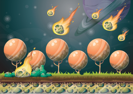 meteorite: cartoon landscape with meteor background with separated layers for game art and animation game design asset in 2d graphic
