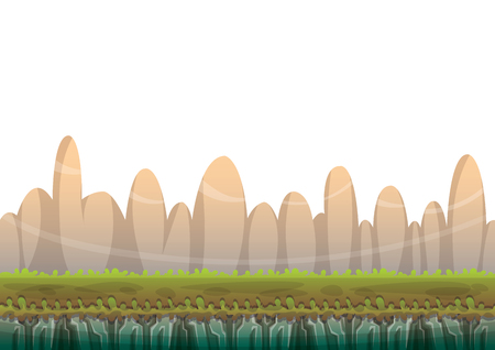 cartoon nature landscape background with separated layers for game art and animation game design asset in 2d graphic Illustration