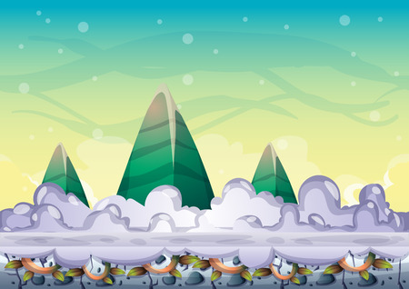 computer animation: cartoon vector sky background with separated layers for game art and animation game design asset in 2d graphic