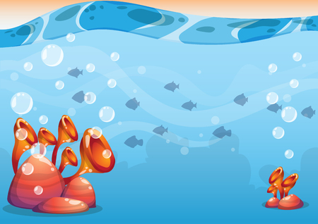 cartoon underwater background with separated layers for game art and animation game design asset in 2d graphic