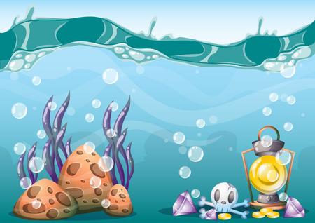 monedas antiguas: de dibujos animados de fondo tesoro bajo el agua con capas separadas para el arte del juego y de los activos de diseño de juegos de animación en gráficos 2D