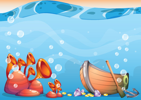 cartoon underwater treasure background with separated layers for game art and animation game design asset in 2d graphic