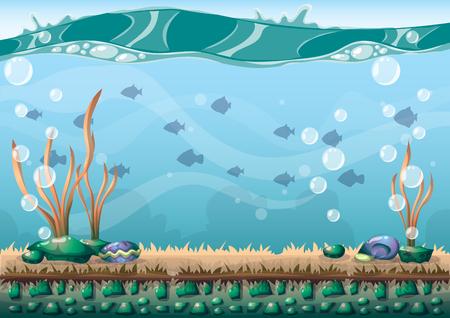 Podwodne kreskówki z oddzielonymi warstwami dla sztuki gry i animacji animacji gra w 2d grafiki