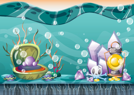 sunken: cartoon underwater treasure background with separated layers for game art and animation game design asset in 2d graphic