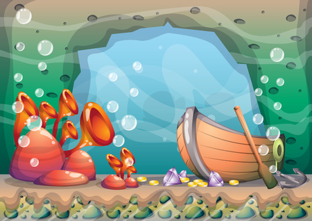 the sunken: cartoon underwater treasure background with separated layers for game art and animation game design asset in 2d graphic