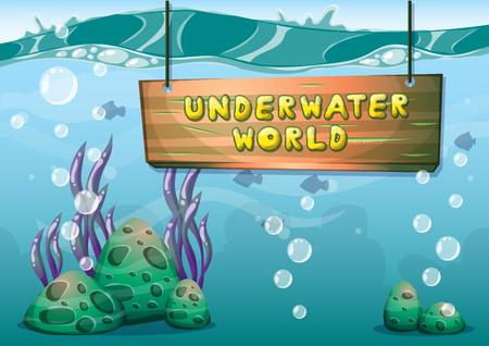 Podwodne kreskówki z oddzielonymi warstwami dla sztuki gry i animacji animacji gra w 2d grafiki Ilustracje wektorowe