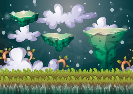 erosion: cartoon floating island background with separated layers for game art and animation game design asset in 2d graphic Illustration