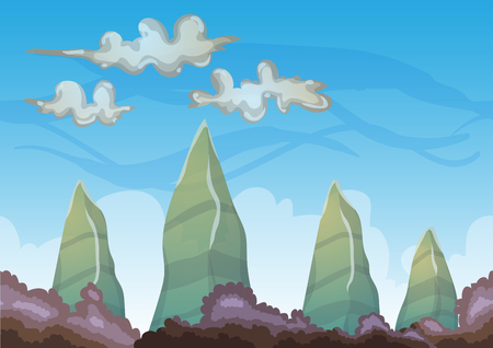 cartoon sky background with separated layers for game art and animation game design asset in 2d graphic