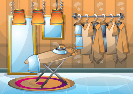 cartoon illustration interior clothing room with separated layers in 2d graphic