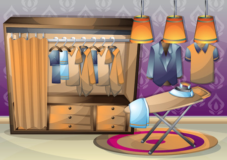 ironing: cartoon illustration interior clothing room with separated layers in 2d graphic