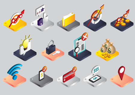 illustration of info graphic business icons set concept in isometric 3d graphic