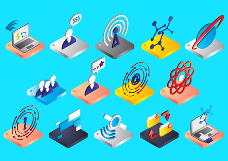 disconnection: illustration of info graphic connection icons set concept in isometric 3d graphic Illustration