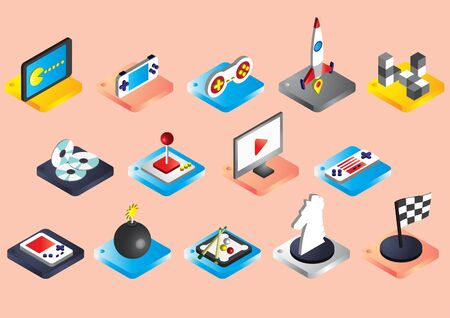 portable console: illustration of info graphic game icons set concept in isometric 3d graphic