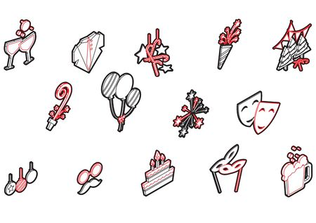 illustration of info graphic celebration icons set concept in isometric 3d graphic