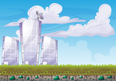 cartoon building background with separated layers for game art and animation game design asset in 2d graphic Illustration