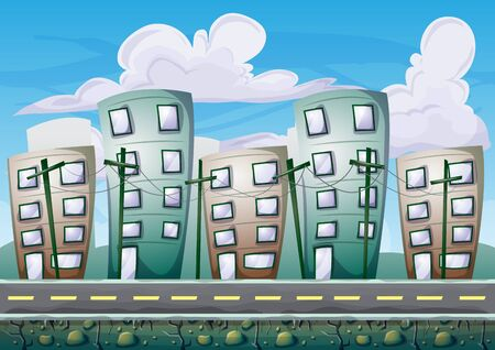 cartoon building background with separated layers for game art and animation game design asset in 2d graphic