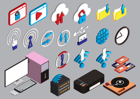 illustration of info graphic computer icons set concept in isometric 3d graphic