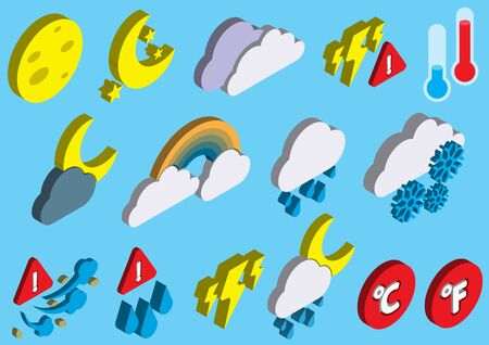 illustration of info graphic weather icons set concept in isometric 3d graphic Illustration