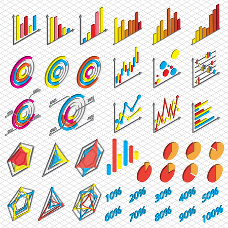 cross bar: illustration of info graphic chart icons set concept in isometric 3d graphic