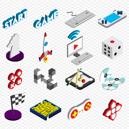 handheld device: illustration of info graphic game icons set concept in isometric 3d graphic